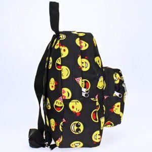 Emoji Print Mini Backpack Purse Black 89a303d322f78